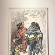 Arte: GRABADO ORIGINAL DE GUSTAVE DORÉ DE 1875 - PINTADO A MANO - VALENCIA - MARKET GARDENERS. Lote 219863863