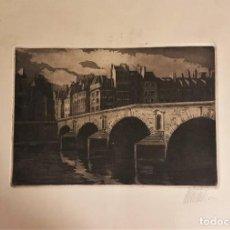 Arte: ANTONIO TOMÁS (VALENCIA 1939-) PUENTE DE PARÍS , GRABADO FIRMADO Y FECHADO 1962 (20 X 28) 35 X 50. Lote 220509768