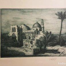 Arte: VALDES CANET (VALENCIA1936-?) IGLESIA ,GRABADO HUELLA 22 X 29´5 (34 X 50) AÑOS 60. Lote 220558946