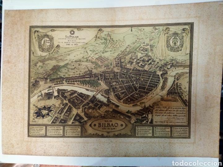Arte: MAPA ANTIGUO DE LA RIA DE BILBAO-LA POLAR 1948-MEDIDAS 77X54CM - Foto 7 - 220569267