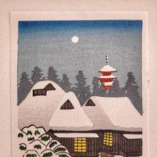 Arte: PRECIOSO GRABADO JAPONÉS ORIGINAL, PAISAJE NOCTURNO DE UN PUEBLO NEVADO CON SU TEMPLO, XILOGRAFÍA. Lote 221097021