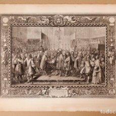 Arte: CHARLES LE BRUN - RENOUVELLEMENT D'ALLIANCE ENTRE LA FRANCE ET LES SUISSES AGUAFUERTE - 1663. Lote 221115398