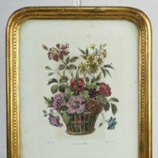 Arte: GRABADO COLOREADO A MANO DE LOUIS TESSIER (GRABADOR, C.1719-1781) CORBEILLE DE FLEURS. Lote 221157213