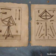 Arte: DOS GRABADOS DE ASTRONOMÍA DE CUARTO DE CÍRCULO MÓVIL. ENCICLOPEDIA SIGLO XVIII. BENARD. Lote 221291503