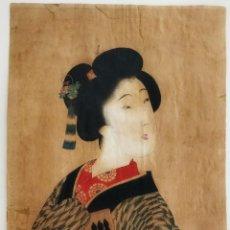 Arte: ANTIGUO GRABADO JAPONÉS ORIGINAL DEL MAESTRO TOYOHARA KUNICHIKA, RETRATO DE UNA GEISHA, CIRCA 1860. Lote 221336248