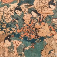 Arte: MAGISTRAL GRABADO JAPONÉS ORIGINAL DEL MAESTRO UTAGAWA YOSHITORA, GUERREROS Y GEISHAS, CIRCA 1850. Lote 221337607
