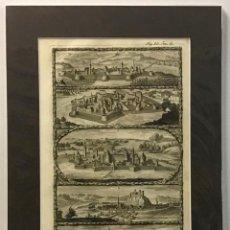 Arte: GRABADO MILITAR ORIGINAL CASTILLOS. PERTENECIENTE AL LIBRO DE LA HISTORIA DE LEOPOLDO I DEL AÑO 1696. Lote 221541760
