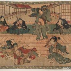 Arte: EXCELENTE GRABADO ORIGINAL JAPONES DEL SIGLO XIX DEL MAESTRO YOSHITORA, GUERREROS SAMURAI Y GEISHAS. Lote 221562270