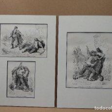 Arte: 3 GRABADOS VOYAGE EN ESPAGNE GUSTAVO DORE 2 MONTAJE PASSEPARTOUT. Lote 221743351