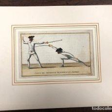 Arte: GRABADO COLOREADO CON ESCENA DE ESGRIMA. COUP DE SECONDE DES SOUS LES ARMES. SIGLO XVIII. Lote 221784252