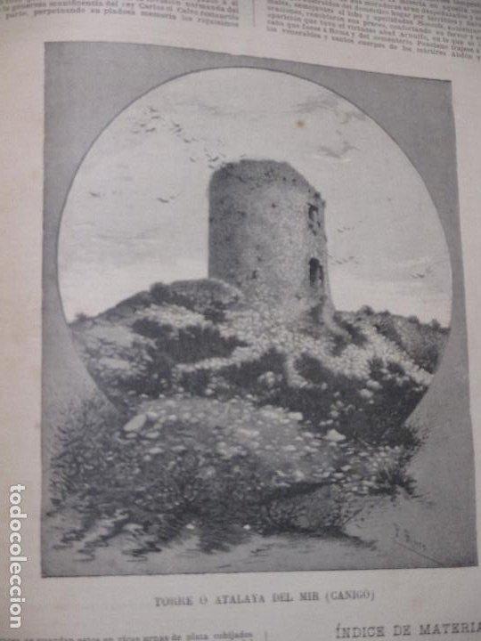 Arte: Torre o atalaya del Mir, Canigó, fotograbado de P. Ross 1886 La Hormiga de Oro - Foto 2 - 221860311