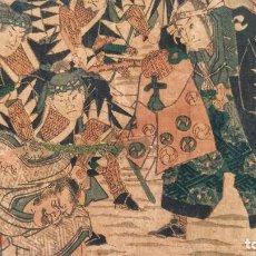 Arte: MAGISTRAL GRABADO JAPONÉS ORIGINAL DEL MAESTRO UTAGAWA YOSHITORA, GUERREROS RONIN SAMURAI CIRCA 1850. Lote 221888891