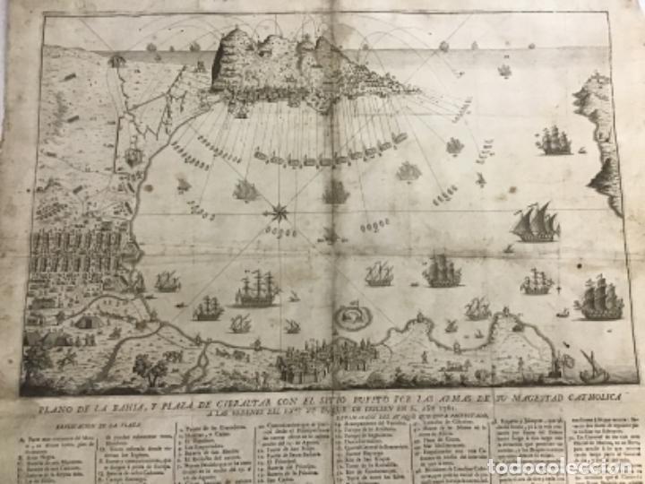 Arte: PLANO DE LA BAHIA Y PLAZA DE GIBRALTAR CON EL SITIO PUESTO POR SU MAGESTAD CATHOLICA. 1782. - Foto 2 - 221918646