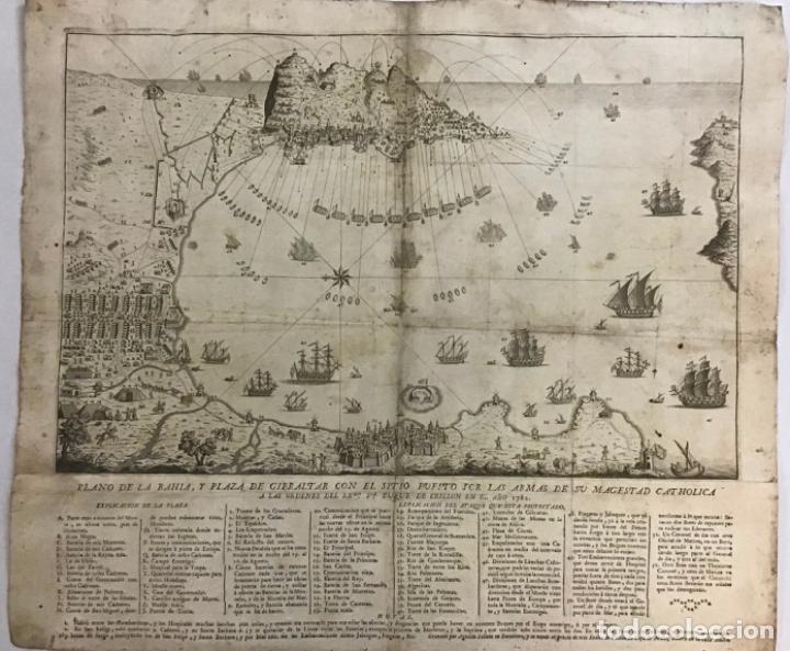 Arte: PLANO DE LA BAHIA Y PLAZA DE GIBRALTAR CON EL SITIO PUESTO POR SU MAGESTAD CATHOLICA. 1782. - Foto 3 - 221918646