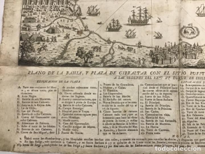 Arte: PLANO DE LA BAHIA Y PLAZA DE GIBRALTAR CON EL SITIO PUESTO POR SU MAGESTAD CATHOLICA. 1782. - Foto 6 - 221918646