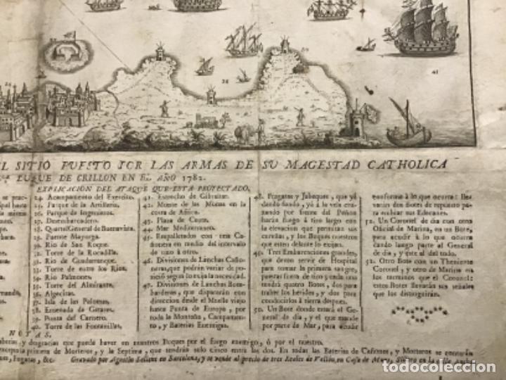 Arte: PLANO DE LA BAHIA Y PLAZA DE GIBRALTAR CON EL SITIO PUESTO POR SU MAGESTAD CATHOLICA. 1782. - Foto 7 - 221918646