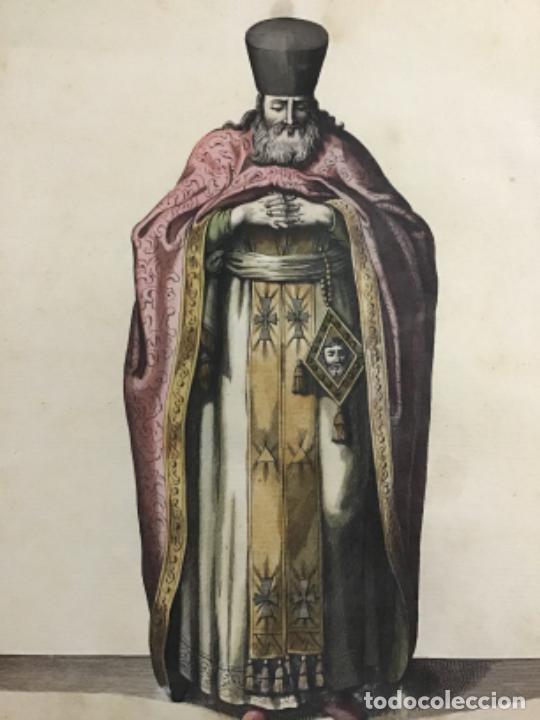 GRABADO ORIGINAL SIGO XVIII COLOREADO A MANO. EL PA PAS DE LA IGLESIA GRIEGA. (Arte - Grabados - Antiguos hasta el siglo XVIII)