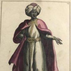Arte: GRABADO ORIGINAL SIGO XVIII COLOREADO A MANO. EL GEFE DE LOS CUNUCOS NEGROS SUPERINTENDENTE DEL SERR. Lote 221920648