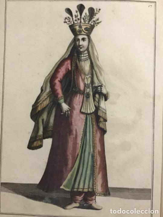 GRABADO ORIGINAL SIGO XVIII COLOREADO A MANO. UNA SEÑORA PERSINA VESTIDA DE GALA. PERSIA (Arte - Grabados - Antiguos hasta el siglo XVIII)