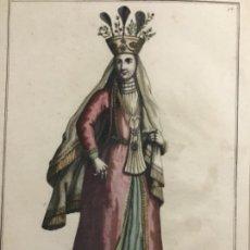 Arte: GRABADO ORIGINAL SIGO XVIII COLOREADO A MANO. UNA SEÑORA PERSINA VESTIDA DE GALA. PERSIA. Lote 221921037