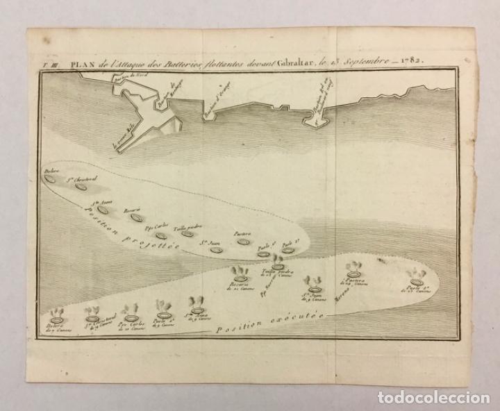 Arte: PLAN DE LATTAQUE DES BATTERIES FLOTTANTES DEVANT GIBRALTAR, LE 13 SEPTEMBRE 1782. (19,5 X 24,5 CM) - Foto 2 - 222008405