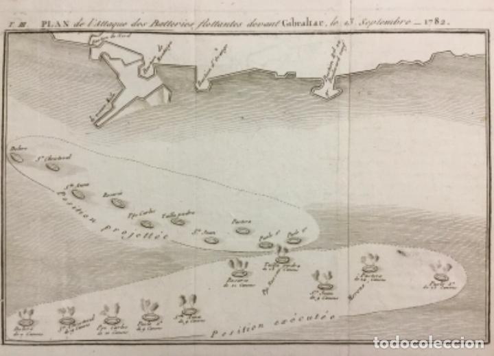PLAN DE L'ATTAQUE DES BATTERIES FLOTTANTES DEVANT GIBRALTAR, LE 13 SEPTEMBRE 1782. (19,5 X 24,5 CM) (Arte - Grabados - Antiguos hasta el siglo XVIII)
