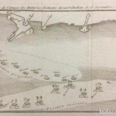 Arte: PLAN DE L'ATTAQUE DES BATTERIES FLOTTANTES DEVANT GIBRALTAR, LE 13 SEPTEMBRE 1782. (19,5 X 24,5 CM). Lote 222008405