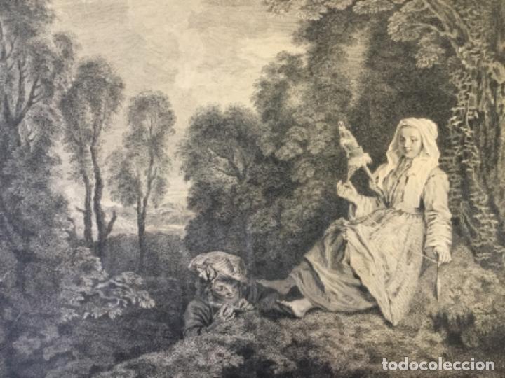 L'INDISCRET. GRABADO SOBRE CARTÓN. A. WATTEAU PINXIT. AUBERT SCULP. (GRABADO 33 X 37,5 CM) (Arte - Grabados - Antiguos hasta el siglo XVIII)