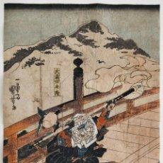 Arte: MAGISTRAL GRABADO JAPONÉS ORIGINAL MAESTRO UTAGAWA YOSHIIKU GUERRERO RONIN SAMURAI CIRCA 1850 KATANA. Lote 222014871