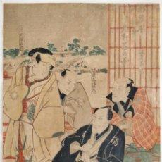 Arte: MAGISTRAL GRABADO JAPONÉS ORIGINAL MAESTRO UTAGAWA TOYOKUNI, FINALES SIGLO XVIII CIRCA 1790 RARO. Lote 222016632