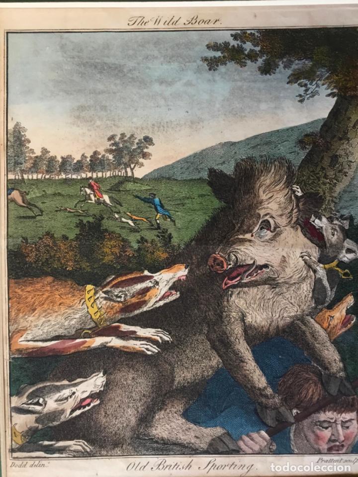 THE WILD BOAR. OLD BRITISH SPORTING. DODD DELIN. - PRATTENT SCULP. ESCENA DE CAZA JABALÍ PERROS (Arte - Grabados - Antiguos hasta el siglo XVIII)