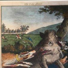 Arte: THE WILD BOAR. OLD BRITISH SPORTING. DODD DELIN. - PRATTENT SCULP. ESCENA DE CAZA JABALÍ PERROS. Lote 222017122