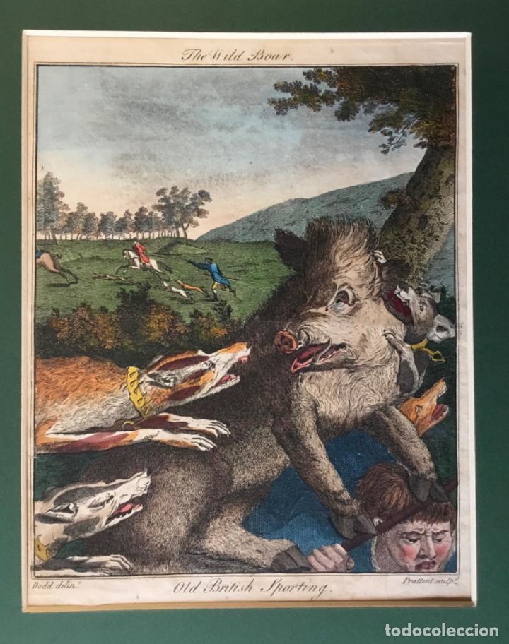 Arte: THE WILD BOAR. OLD BRITISH SPORTING. DODD DELIN. - PRATTENT SCULP. ESCENA DE CAZA JABALÍ PERROS - Foto 3 - 222017122
