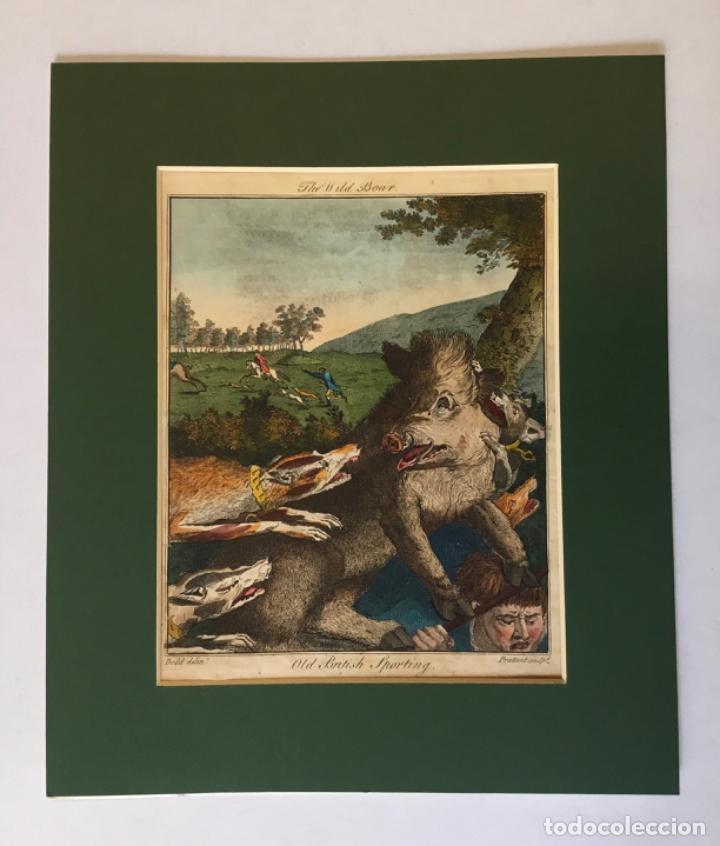 Arte: THE WILD BOAR. OLD BRITISH SPORTING. DODD DELIN. - PRATTENT SCULP. ESCENA DE CAZA JABALÍ PERROS - Foto 2 - 222017122
