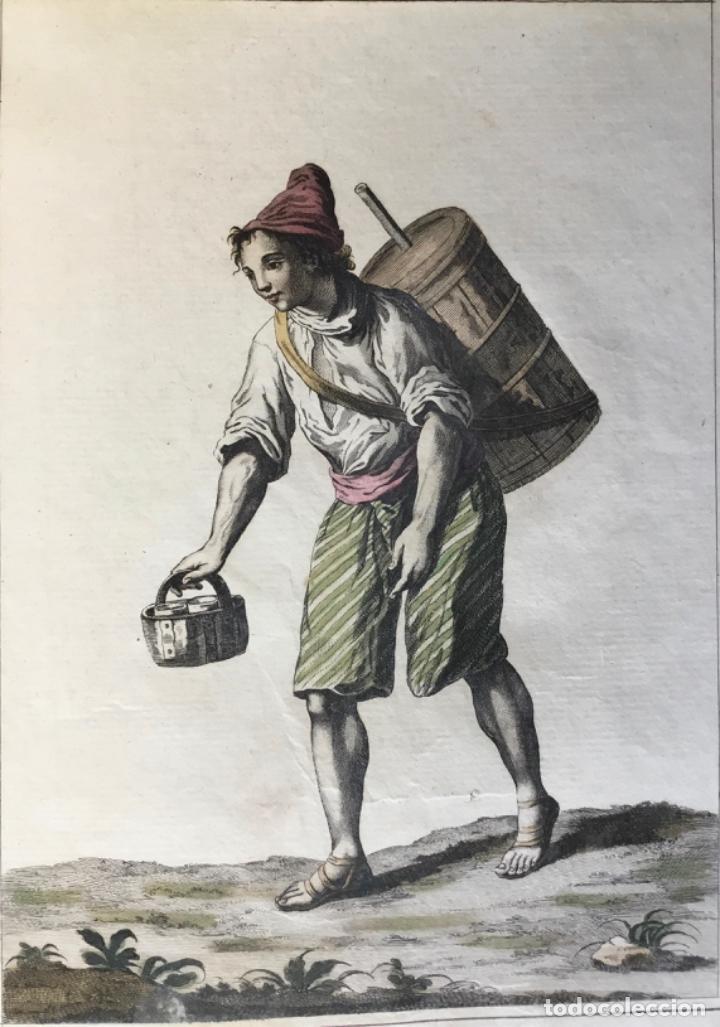 VENDEDOR DE AGUA DE CEBADA. GRABADO ORIGINAL, COLOREADO. (Arte - Grabados - Antiguos hasta el siglo XVIII)