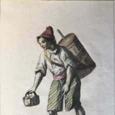 Arte: VENDEDOR DE AGUA DE CEBADA. GRABADO ORIGINAL, COLOREADO.. Lote 222018378
