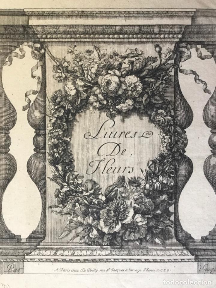 GRABADO ORIGINAL. LUIRES DE FLEURS. DECORATIVO CON MOTIVOS FLORALES. CHEZ POITTY. VAUQUER. (Arte - Grabados - Antiguos hasta el siglo XVIII)