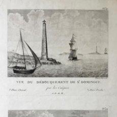 Arte: VUE DU DÉBOUQUEMENT DE ST. DOMINGUE - VUE DU BOURG DE L'ANSE A VEAU. ( 28 X 20,6 CM). Lote 222020466
