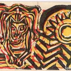 Arte: NADAL 1970 FELICITACIÓ ANTON SALA-CORNADÓ (AUTOGRAFIADA) LINÒLLEUM DE LLUIS TREPAT I POEMA. Lote 222029511