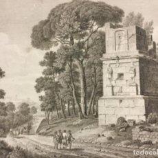 Arte: GRABADO. VISTA PINTORESCA DEL SEPULCRO DE LOS ESCORPIONES Y DE LA CIUDAD DE TARRAGONA. (36,3 X 49,4). Lote 222430318