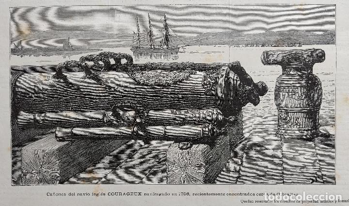 CAÑONES DEL NAVIO INGLES COURAGEUX NAUFRAGADO EN 1796 (1884) (Arte - Grabados - Modernos siglo XIX)