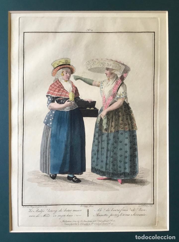 Arte: GRABADO COLOREADO. AH! DU BEURE FRAIS! EH! BIEN, ANNETTE, PORTEZ... AMSTERDAM 1804 BY E. MAASKAMP. - Foto 2 - 222735482