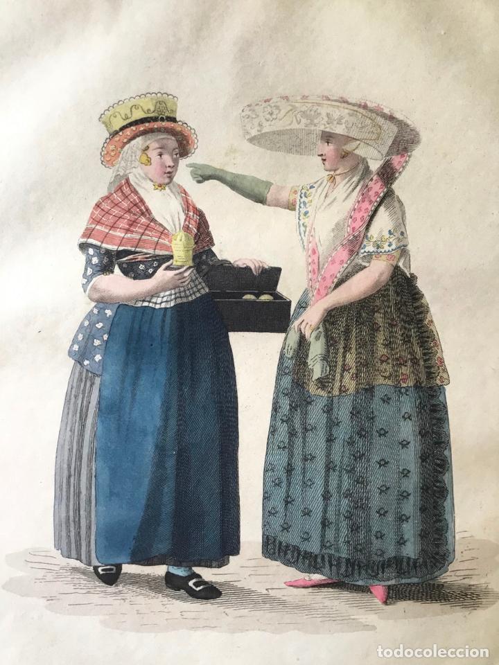 GRABADO COLOREADO. AH! DU BEURE FRAIS! EH! BIEN, ANNETTE, PORTEZ... AMSTERDAM 1804 BY E. MAASKAMP. (Arte - Grabados - Modernos siglo XIX)