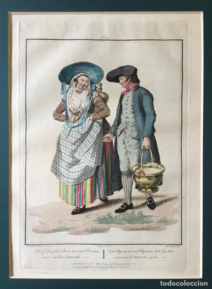 Arte: GRABADO COLOREADO. UN PAYSAN ET UNE PAYSANNE DE LA GUELDRE... AMSTERDAM 1804 BY E. MAASKAMP. - Foto 2 - 222737225
