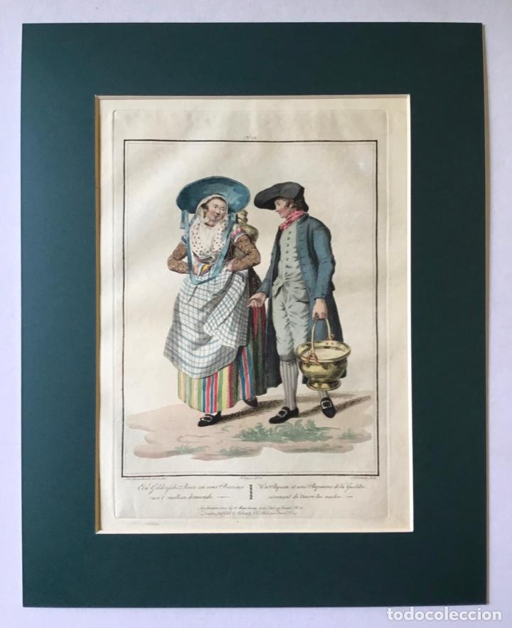 Arte: GRABADO COLOREADO. UN PAYSAN ET UNE PAYSANNE DE LA GUELDRE... AMSTERDAM 1804 BY E. MAASKAMP. - Foto 3 - 222737225