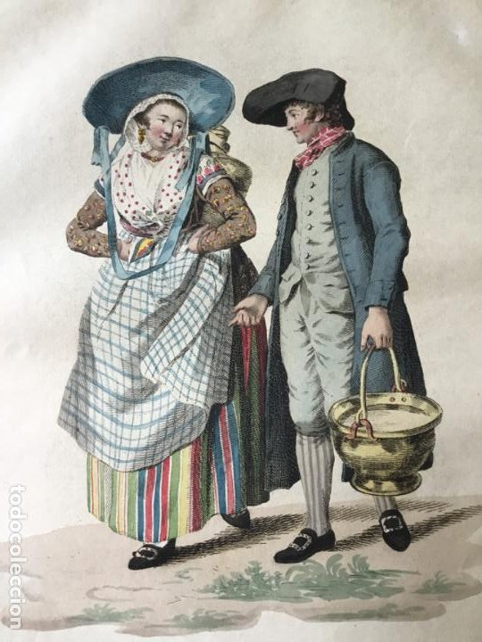GRABADO COLOREADO. UN PAYSAN ET UNE PAYSANNE DE LA GUELDRE... AMSTERDAM 1804 BY E. MAASKAMP. (Arte - Grabados - Modernos siglo XIX)