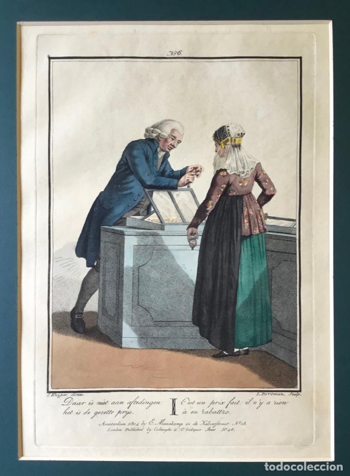 Arte: GRABADO COLOREADO. CEST UN PRIX FAIT: IL NY A RIEN À EN RABATTRE. AMSTERDAM 1804 BY E. MAASKAMP. - Foto 2 - 222738161