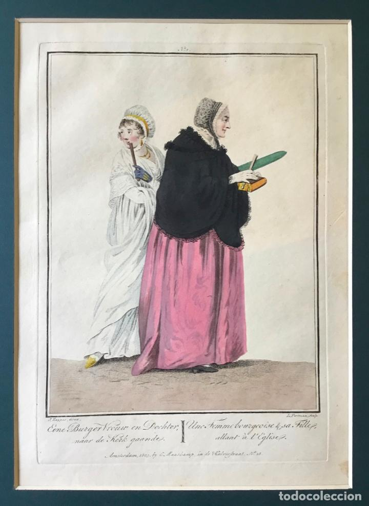Arte: GRABADO COLOREADO. UNE FEMME BOURGEOISE & SA FILLE, ALLANT À LEGLISE. AMSTERDAM 1803 BY E. MAASKAMP - Foto 2 - 222738547