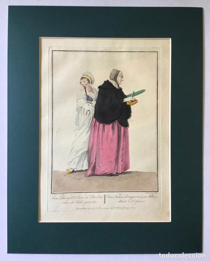 Arte: GRABADO COLOREADO. UNE FEMME BOURGEOISE & SA FILLE, ALLANT À LEGLISE. AMSTERDAM 1803 BY E. MAASKAMP - Foto 3 - 222738547