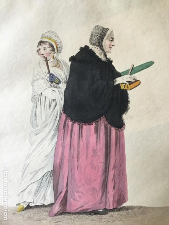 GRABADO COLOREADO. UNE FEMME BOURGEOISE & SA FILLE, ALLANT À L'EGLISE. AMSTERDAM 1803 BY E. MAASKAMP (Arte - Grabados - Modernos siglo XIX)